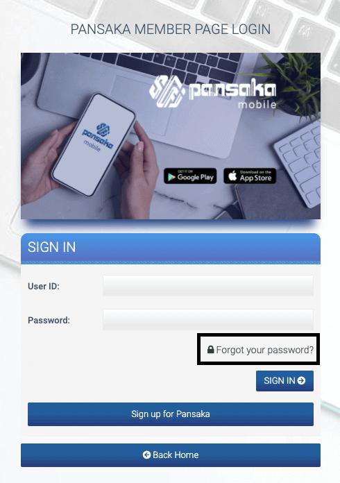 username and password forgotten on pansaka